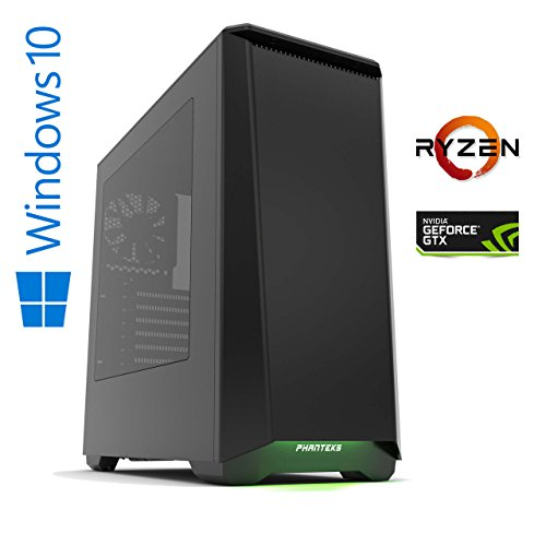 Memory PC Gaming Computer ventum Y AMD Ryzen 5 - 1600X (Sixcore/Hexacore) 6x 3.6 GHz, ASUS PRIME B350, 16 GB DDR4 2133Mhz, 256 GB SSD + 1000 GB HDD, Nvidia Geforce GTX 1070 8GB 4K, USB 3.0, MultimediaPC, High End Gaming, Workstation, CAD Fähig, Silent