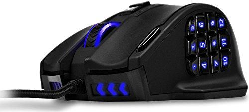 {aktualisierte Version}UtechSmart Venus 50, Bis 16.400 DPI Hochpräzision Laser MMO Gaming Maus für PC, 18 programmierbare Tasten, Gewichtanpassung-Kasette, 12 seitliche Tasten, 5 programmierbare Benutzerprofile, Omron-Schalter, über 16 Millionen Anpassbare LED Farboptionen für seitliche Tasten, Scrollrad, Logo & Scheinwerfer [18Monate Herstellergarantie]