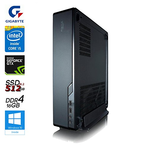 SNOGARD Ultra Mini Gaming PC incl. Windows 10 | Intel Core i5-7600 Kaby Lake, 8GB Nvidia GeForce GTX 1070, 16GB DDR4 RAM, 512GB M2 SSD • Slim Desktop Komplett System | PC im Konsolen Format