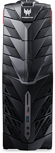 Acer Predator G1-710 Gaming Desktop PC (Intel Core i7-6700, 16GB RAM, 256GB SSD, 3.000GB HDD, GeForce GTX Titan X (12GB VRAM), DVD, Win 10) schwarz/rot