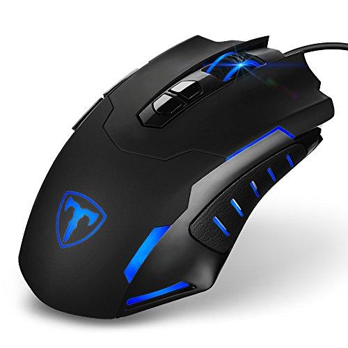 Gaming Maus, Holife Gaming Mouse Programmierbare Wired Gaming-Maus 7200DPI USB Maus LED Mouse Ergonomische Mäuse Programmierbar DPI mit 5 einstellbare DPI,7 Tasten, für Pro Gamer Spieler