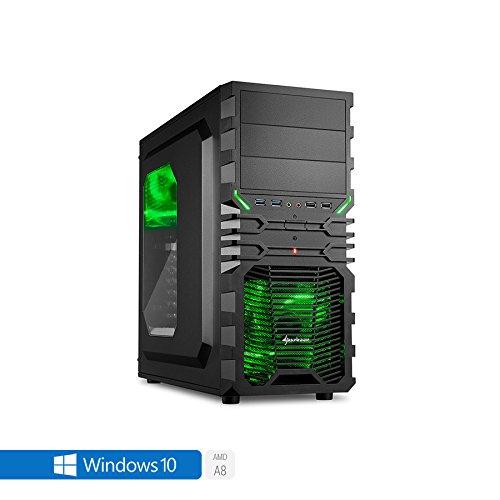 Sedatech Casual Gaming PC AMD A8-7600 4x 3.1GHz (max 3.8Ghz), Radeon R7 Series, 8GB RAM DDR3, 2TB HDD, USB 3.1, Full HD 1080p, 80+ Netzteil. Rechner mit Windows 10 64 Bit
