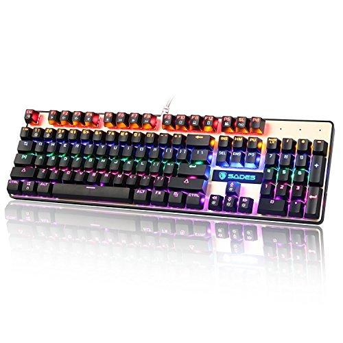 SADES K10 LED Backlit verdrahtete USB Mechanische Gaming Tastatur Metallplatte mit blauen Schaltern (Schwarz & Gold)