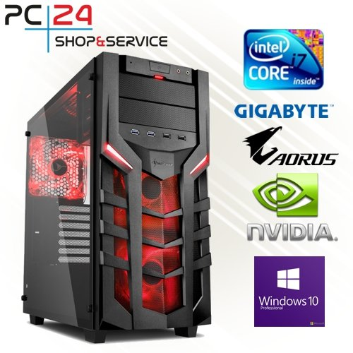 PC24 Gaming PC | Intel i7-7700K @4x4,50GHz | nVidia GF GTX 1070 mit 8GB RAM | 16GB DDR4 PC2133 RAM | Gigabyte GA-Z270X-Gaming K5 Mainboard | 600Watt 80+ ATX Netzteil | Windows 10 Pro | i7 Gamer PC