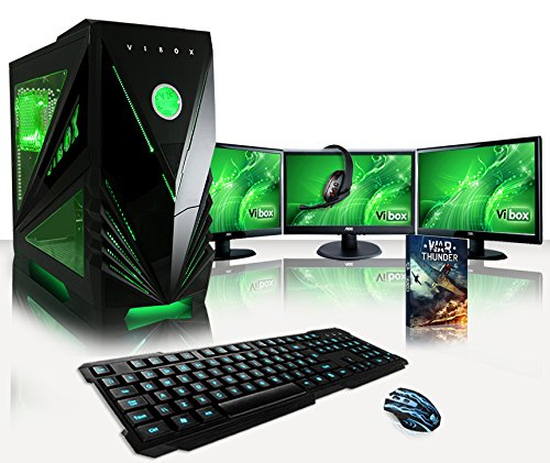 VIBOX Warrior Komplett-PC Paket 7 Gaming PC - 4,0GHz AMD FX Quad-Core Prozessor, Geforce GTX 1060, leistungsfähig, Desktop Gamer Computer mit Spielgutschein, 3x Dreifach 22