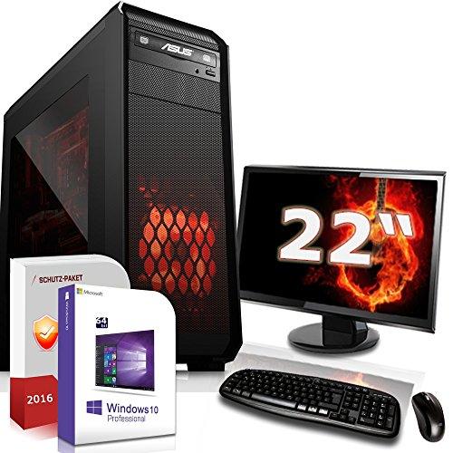 Gaming PC Komplett Set / Multimedia COMPUTER inkl. Windows 10 Pro 64-Bit! - AMD Quad-Core FX 4300 4x 4.0 GHz Turbo - AMD Radeon R5 230 mit 1GB DDR3 RAM - 22-Zoll ASUS TFT Monitor - 8GB DDR3 RAM - 1000GB HDD - Tastatur + Maus - USB 3.0 - DVI - VGA - HDMI - Gamer PC mit 3 Jahren Garantie!
