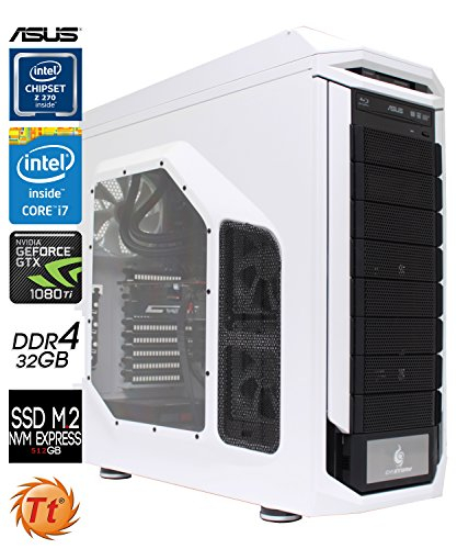 SNOGARD eXTREME Gaming PC | Intel® Core i7-7700K | 11GB! Nvidia Geforce GTX1080 Ti | 32GB DDR4 RAM | 512GB M2 SSD + 4TB | Blu-ray/CD/DVD-Rewriter | Corsair Hydro Series H110i Wasserkühlung | Ultra Gamer Desktop Computer