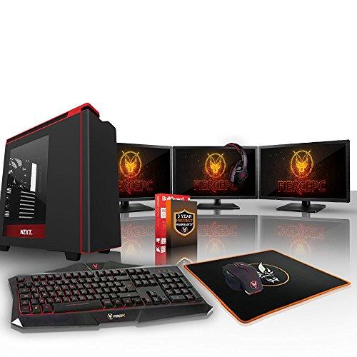 Fierce CHEETAH Gaming PC Bundeln - Schnell 4 x 4.5GHz Quad-Core Intel Core i7 7700K, All-In-One Flüssigkühler, 240GB Solid State Drive, 1TB Festplatte, 16GB von 2133MHz DDR4 RAM / Speicher, NVIDIA GeForce GTX 1080 Ti 11GB, Gigabyte GA-Z270P-D3 Hauptplatine, NZXT H440 Schwarz Computergehäuse/Rot Fans, HDMI, USB3, Wi - Fi, VR Bereit, 4K Bereit, Perfekt für High-End-Spiele, Windows nicht Enthalten, Tastatur (VK/QWERTY), Maus, 3x 24-Zoll-Monitore, Headset, 3 Jahre Garantie 506176
