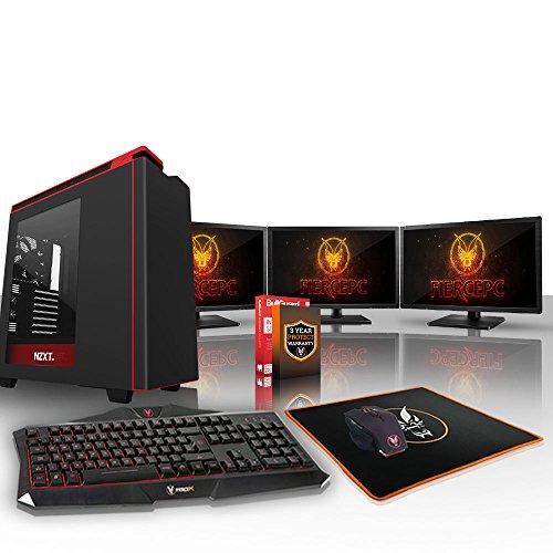 Fierce CHEETAH Gaming PC Bundeln - Schnell 4 x 4.5GHz Quad-Core Intel Core i7 7700K, All-In-One Flüssigkühler, 240GB Solid State Drive, 1TB Festplatte, 16GB von 2133MHz DDR4 RAM / Speicher, NVIDIA GeForce GTX 1080 Ti 11GB, Gigabyte GA-Z270P-D3 Hauptplatine, NZXT H440 Schwarz Computergehäuse/Rot Fans, HDMI, USB3, Wi - Fi, VR Bereit, 4K Bereit, Perfekt für High-End-Spiele, Windows nicht Enthalten, Tastatur (VK/QWERTY), Maus, 3x 24-Zoll-Monitore, 3 Jahre Garantie 506174