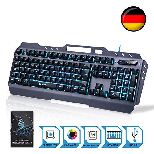 KLIM Lightning – NEU – hybrid halbmechanische Tastatur QWERTZ DEUTSCHE + sieben verschiedene Farben + 5-Jahre Garantie – Metallstruktur – Gamer Gaming-Tastatur für Videospiele PC Windows, Mac