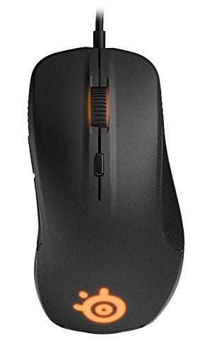 SteelSeries Rival Optische Gaming-Maus, RGB-Beleuchtung, 6 Tasten, Gummierte seitliche Griffflächen, Farbe schwarz