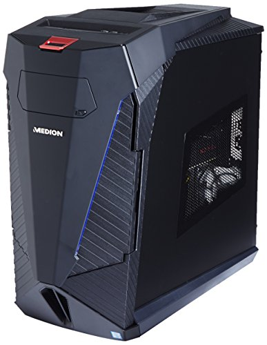 Medion Erazer X5345 G Gaming Desktop-PC (Intel Core i7-6700, 16GB DDR4 RAM, 1TB HDD, 512GB SSD, AMD Radeon RX480 8GB GDDR5, Win 10 Home) schwarz