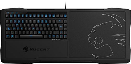 ROCCAT Sova Mechanisches Gaming Lapboard, Tastatur und Mauspad (DE-Layout, Mechanische Tasten braun, Hardpad 275 x 240 mm, 4 m USB-Kabel) schwarz