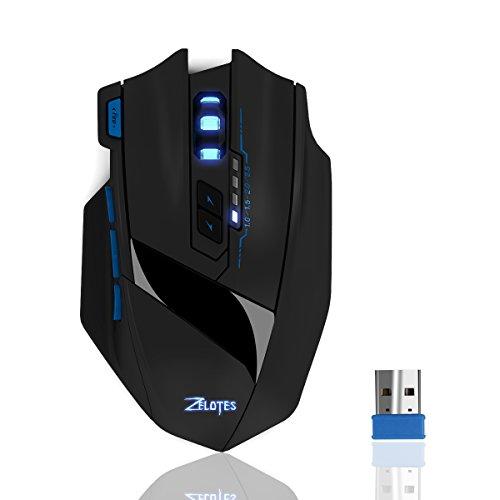 Dual Mode Gaming Maus, ECHTPower 2.4GHz Wireless Gaming Mouse & USB Kabelgebundene Gaming Maus mit 2x Wiederaufladbaren Akku für Pro Gamer, Ergonomisch, Optisch, 9 Tasten, 2500DPI, Nano Empfänger