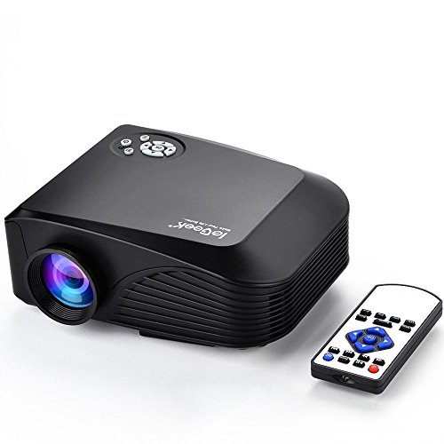 Beamer, ieGeek Mini Beamer LED Full HD 1080P LCD Video Projektor Multimedia Projektor für Heimkino Theater PS4 Xbox One Video-Spiele Laptop, Unterstützt HDMI USB SD VGA AV Audio, Schwarz, GK-H88B