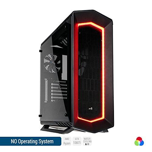 Sedatech Ultimate Gaming PC mit Wasserkühlung, AMD Ryzen 7 1800X 8x 3.6GHz (max 4.0Ghz), Geforce GTX1080Ti 11Gb, 16GB RAM DDR4 3000Mhz, 250GB SSD, 2TB HDD, USB 3.1, Kartenleser, HDMI2.0, 4K Grafik Aulösung, DirectX 12, VR Ready, 80+ Netzteil. Rechner ohne OS