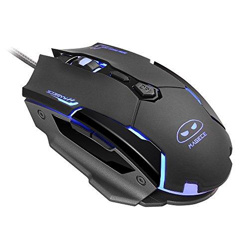Gaming Maus, USB Optisch Mouse mit 7 Tasten 3200DPI, LED-Beleuchtung in den Farben rot/ blau/ lila, Pro Gamermaus Für PC Spiele, Schwarz (G2)
