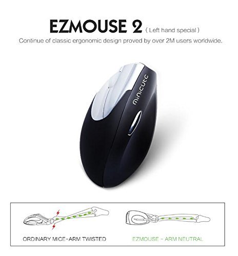 Home Care Wholesale® Linke Hand Wireless Ergonomische Maus 2.4G mit 4 Tasten und Umschaltbare DPI (800/1200/1600 DPI) - Ezmouse2 Hochpräzise Vertikale Maus, Entworfen für Handgelenk Free Pain (Linkshänder Version)