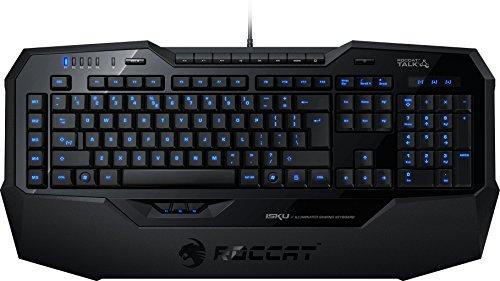 ROCCAT Isku Illuminated Gaming Tastatur (DE-Layout, blaue Tastenbeleuchtung, 36 Makrotasten inkl. 3 Thumbster-Tasten) schwarz