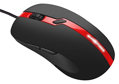 Sharkoon Shark Force Pro Gaming Maus (3200 DPI, LED beleuchtete Unterseite, ergonomisches Design) rot