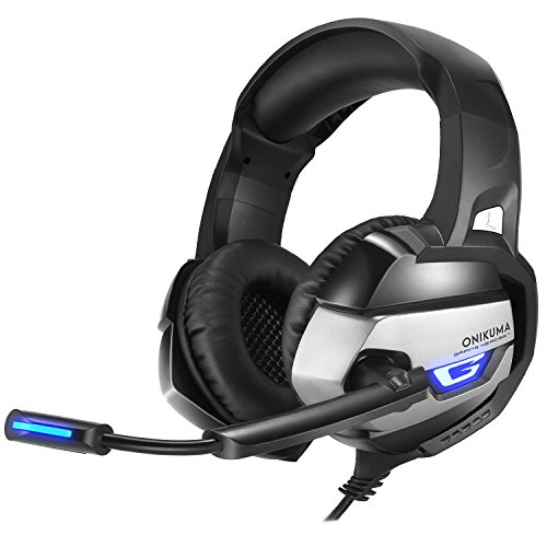 PUNICOK PS4 headset gaming Kopfhörer mit Rauschunterdrückung Mikrofon 3.5mm On Ear Surround Sound Ohrhörer für PS4 Xbox One PC Laptop Tablet Mobile