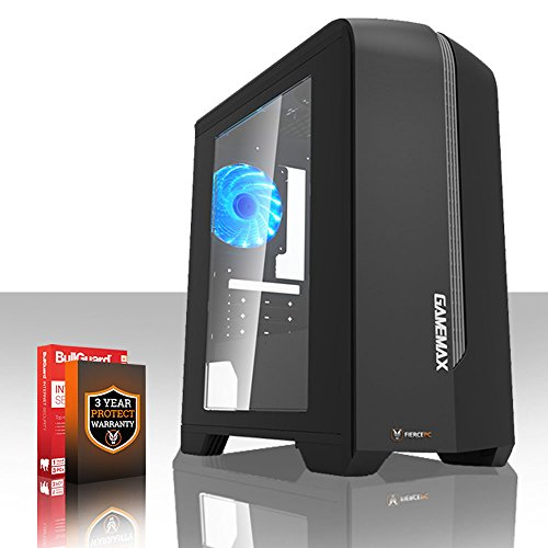 Fierce EXILE Gaming PC Desktop Computer - Fast 3.8GHz Quad-Core AMD Athlon X4 845, 1TB Hard Drive, 8GB of 1600MHz DDR3 RAM / Memory, NVIDIA GeForce GTX 1050 Ti 4GB, Gigabyte F2A78M-HD2 Motherboard, GameMax Centauri Black Case/Blue Fans, HDMI, USB3, Wi - Fi, Perfect for Competitive Gaming, Operating System not included, 3 Year Warranty 411923