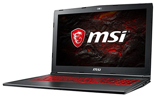 MSI GV62 7RE-2275DE (39,6 cm/15,6 Zoll) Gaming-Notebook (Intel Core i7-7700HQ, 8GB RAM, 256 GB SSD + 1 TB HDD, Nvidia GeForce GTX 1050Ti mit 4GB, Windows 10 Home) Schwarz/Grau-Anthrazit
