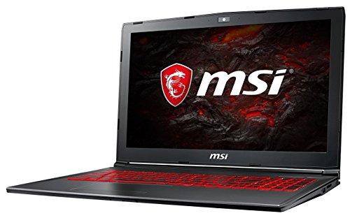 MSI GV62 7RE-2275DE (39,6 cm/15,6 Zoll) Gaming-Notebook (Intel Core i7-7700HQ, 8GB RAM, 256 GB SSD + 1 TB HDD, Nvidia GeForce GTX 1050Ti mit 4GB, Windows 10 Home) Schwarz/Grau-Anthrazit
