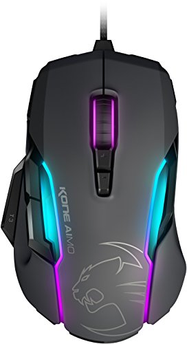 ROCCAT Kone AIMO - RGBA Smart Customization Gaming Maus (Owl-Eye Optischer Sensor, 12.000 dpi, AIMO Lichtsystem) grau