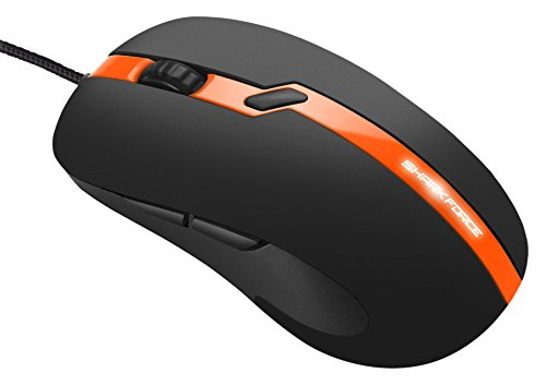 Sharkoon Shark Force Pro Gaming Maus (3200 DPI, LED beleuchtete Unterseite, ergonomisches Design) orange