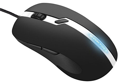 Sharkoon Shark Force Pro Gaming Maus (3200 DPI, LED beleuchtete Unterseite, ergonomisches Design) weiß