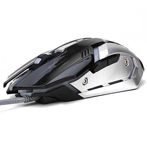 Soongo Gaming-Maus, Professionell, verstellbar, 3200DPI, Präzise Empfindlichkeit, Optisch, hochwertig, USB, Pro Gamer Maus, Kabelgebunden mit Licht in 4Farben, stabiler Stahl schwarz schwarz
