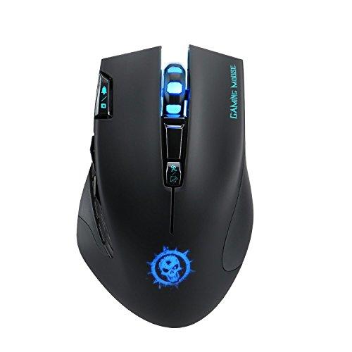 2.4G Kabellos Gaming Maus, Foxcesd 2400 DPI Computer Optische Spiel Schnurlos Mäuse mit einstellbaren DPI, Farbwechsel LED, 7 Tasten