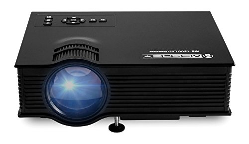 McGrey MB-1500 LED Video Beamer (Mini Beamer kompakter LED-Projektor Portabel Tragbar Heimkino LCD LED Beamer Unterstützt Full HD 1080P für PC Laptop PS4 XBOX Smartphone Android iPhone inkl. Zubehör) Schwarz