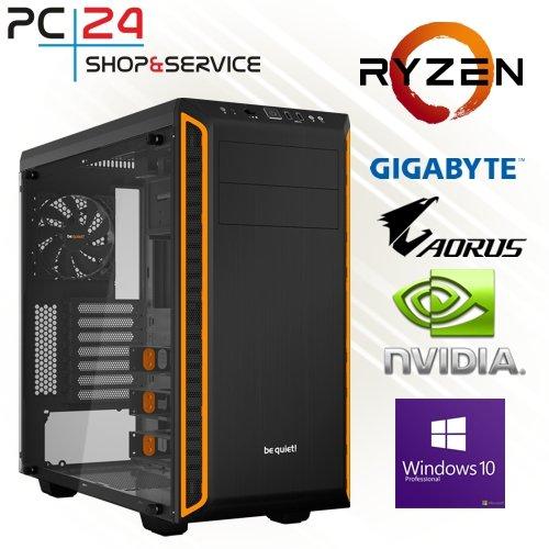 PC24 GAMER PC   AMD Ryzen 7 1800X @8x3,80GHz   500GB Samsung M.2 960   nVidia GF GTX 1080 mit 8GB RAM   16GB DDR4 PC2133 RAM G.Skill   Gigabyte AORUS GA-AX370-Gaming K5   Windows 10 Pro   AMD Gamer PC