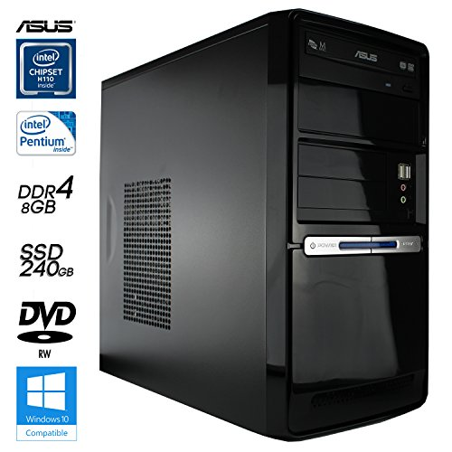 SNOGARD High Power Office & Multimedia PC | Intel Core Pentium G4400 Skylake | 8GB DDR4-RAM | 240GB SSD | Intel Grafik | DVD Brenner | 6+ USB | Silent Business Multimedia Computer