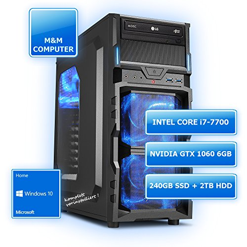 M&M Computer Dresden Gamer-PC , Intel Core i7-7700 CPU KabyLake (Quad-Core), NVIDIA GTX 1060/6GB Gaming Grafikkarte, VR+4K ready, 240GB SSD , 2000GB SATA3 Festplatte, 16GB DDR4 RAM 2400MHz, Gigabyte Mainboard, DVD-Brenner, Sharkoon Gaming-Gehäuse beleuchtet, Windows 10 Home vorinstalliert inkl. Treiber, Bestseller, sehr günstig