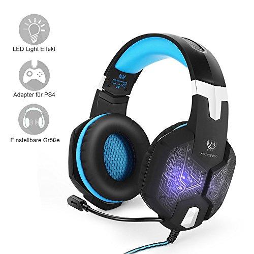 PC&PS4 Gaming Headset, marsboy Gaming Kopfhörer mit Mikrofon LED Effekt für PS4 PC Film Gaming Spielen Chat Musik Best Weihnachtsgeschenk Blau.