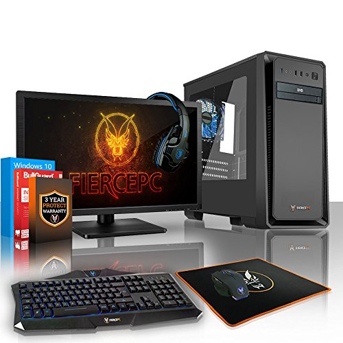 Fierce EXILE Gaming PC Desktop Computer Bundle - Fast 4.4GHz Quad Core AMD Athlon X4 880K - 1TB Hard Drive - 8GB of 1600MHz DDR3 RAM / Memory - NVIDIA GeForce GTX 1050 2GB - HDMI, USB3, Wi-Fi - 24X DVD/CD Drive - Perfect for competitive gaming - Windows 10 Installed - Keyboard and Mouse, 21.5-Inch Monitor, Gaming Headset - 3 Year Warranty - (416538)