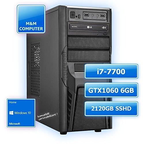 M&M Computer Dresden Multimedia Gaming-PC INTEL, Intel Core i7-7700 CPU KabyLake (Quad-Core), NVIDIA GTX 1060/6GB Gaming Grafikkarte, VR+4K ready, 120GB SSD , 2000GB SATA3 Festplatte, 8GB DDR4 RAM 2133MHz, Gigabyte Mainboard, DVD-Brenner, MTEC-Gehäuse mit 600Watt Netzteil, Windows10 Home vorinstalliert inkl. Treiber, PC-Kauf-Empfehlung