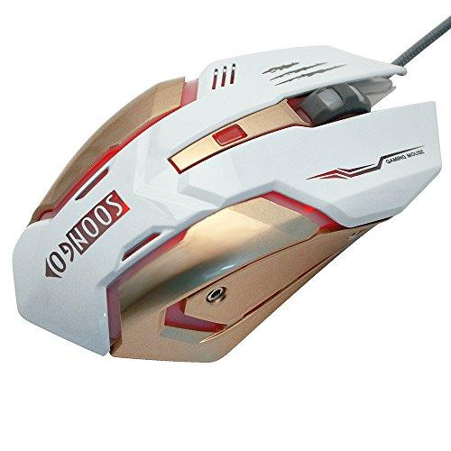 Soongo Gaming-Maus, Professionell, verstellbar, 3200DPI, Präzise Empfindlichkeit, Optisch, hochwertig, USB, Pro Gamer Maus, Kabelgebunden mit Licht in 4Farben, stabiler Stahl weiß weiß