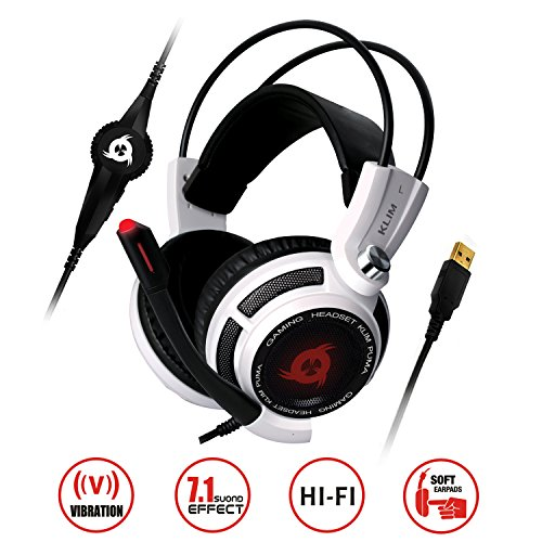 KLIM Puma - Micro Gamer Headset - 7.1 Surround-Sound - Hochqualitativer Klang - Integrierte Vibrationen - Perfekt für PC Gaming Weiß