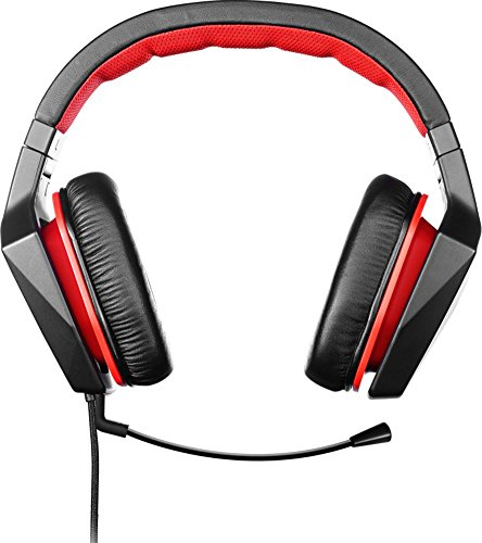 Lenovo Y Gaming Surround Sound Headset (7.1 Surround-Sound, 400 mm Neodym-Treiber, abnehmbares Mikrofon, Kontrolleinheit mit Lautstärkeregelung und Stummschaltung, Y Gaming Style) schwarz/rot
