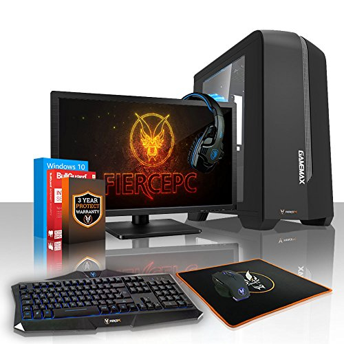 Fierce APACHE Gaming PC Desktop Computer Bundle - Fast 4.1GHz Quad-Core Intel Core i5 7600, 1TB Hard Drive, 8GB of 2133MHz DDR4 RAM / Memory, NVIDIA GeForce GTX 1050 Ti 4GB, Gigabyte H110M-S2H Motherboard, GameMax Centauri Black Case/Blue Fans, HDMI, USB3, Wi - Fi, Perfect for Competitive Gaming, Windows 10 Installed, Keyboard and Mouse, 21.5-Inch Monitor, Gaming Headset, 3 Year Warranty 461078