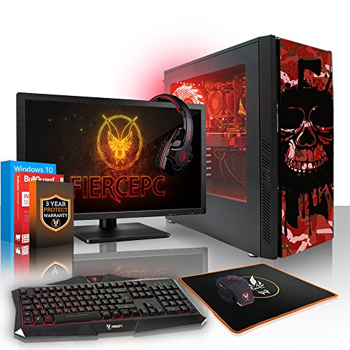 Fierce EXILE RGB Gaming PC Desktop Computer Bundle - Fast 3.8GHz Quad Core AMD Athlon X4 845 - 1TB Hard Drive - 8GB of 1600MHz DDR3 RAM / Memory - NVIDIA GeForce GTX 1050 Ti 4GB - HDMI, USB3, Wi-Fi - Perfect for competitive gaming - Windows 10 Installed - Keyboard and Mouse, 21.5-Inch Monitor, Gaming Headset - 3 Year Warranty - (411868)