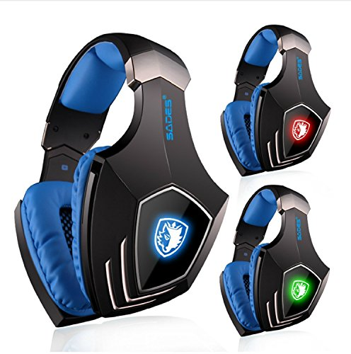 Kopfhörer Gamer, SADES SA-A60 Virtual 7.1 Surround Sound Gaming Kopfhörer Headset mit Mikrofon LED Licht für PC Laptop