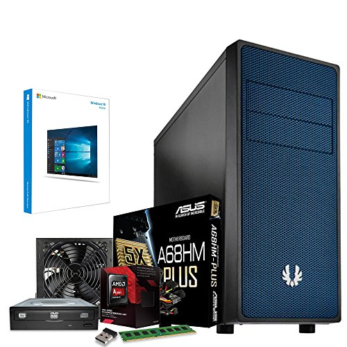 Computer Technology & ASUS Gaming System - AMD FM2 6300 3.7GHz CPU - Asus R5 230 Graphics Card - 8GB DDR3 1600Mhz Memory - 1TB 1000GB Hard Drive Disk HDD - ASUS A68HM-Plus Motherboard - Built into a BitFenix Neos Blue Case & Kolink 80+ Certified PSU - Windows 10 64 bit Installed, Setup and Ready to Use