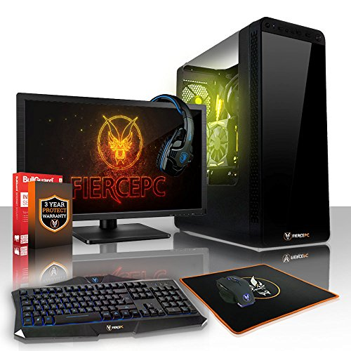 Fierce APACHE Gaming PC Desktop Computer Bundle - Fast 4.2GHz Quad Core Intel Core i7 7700, 1TB Hard Drive, 8GB of 2133MHz DDR4 RAM / Memory, NVIDIA GeForce GTX 1050 Ti 4GB, HDMI, USB3, Wi-Fi, Perfect for competitive gaming, Windows Trial included - Keyboard and Mouse, 21.5-Inch Monitor, Gaming Headset, 3 Year Warranty, (462832)