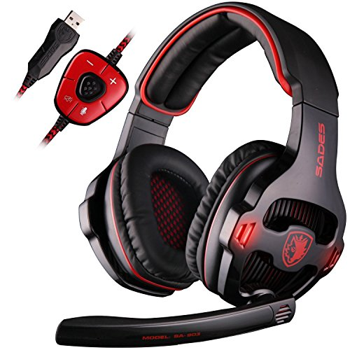 SADES SA903 7.1 Surround Sound Stereo Professionelle PC USB Gaming Headset Stirnband Kopfhörer mit Mikrophon, tiefe Bässe, Over-the-Ear-Lautstärkeregler LED-Leuchten für PC Gamers(schwarz)