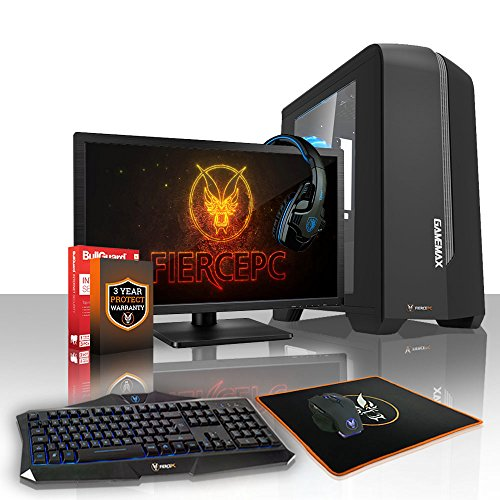 Fierce APACHE Gaming PC Desktop Computer Bundle - Fast 4GHz Quad-Core Intel Core i7 4790, 1TB Hard Drive, 16GB of 1600MHz DDR3 RAM / Memory, NVIDIA GeForce GTX 1050 Ti 4GB, ASUS H81M-P PLUS Motherboard, GameMax Centauri Black Case/Blue Fans, HDMI, USB3, Wi - Fi, Perfect for Competitive Gaming, Operating System not included, Keyboard and Mouse, 21.5-Inch Monitor, Gaming Headset, 3 Year Warranty 449552
